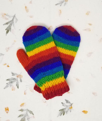 HIMALAYAN HANDKNITTED WOOL MITTEN WITH FLEECE LINING