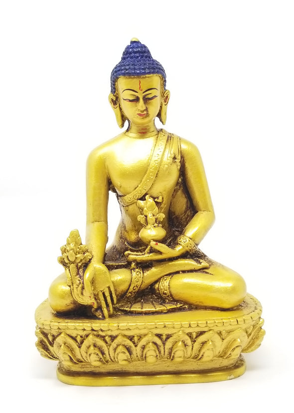 "HANDMADE RESIN MEDICINE BUDDHA 5.5"" IN GOLD"