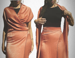 Coral Silky Wrap Skirt Set