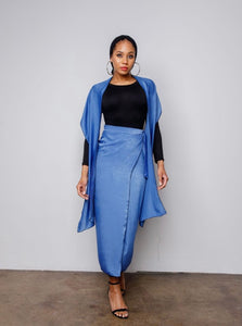 Sky Blue Silky Wrap Skirt Set