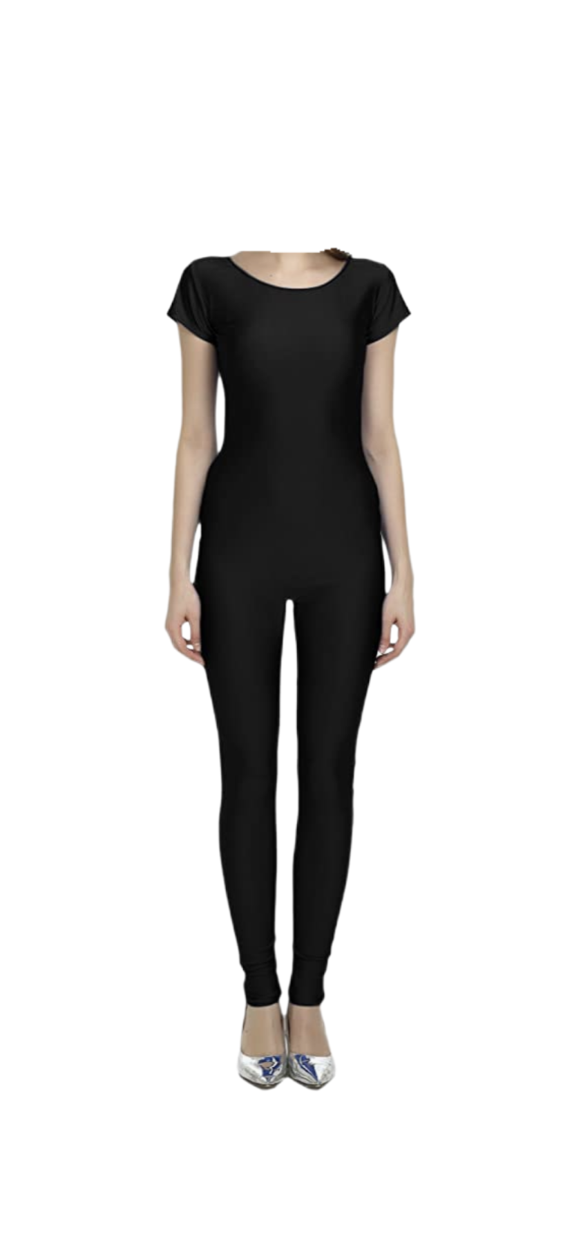 Short Sleeve Scoop Neck Unitard Jumpsuit