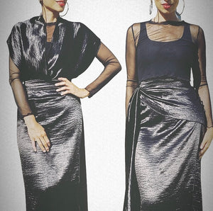 Black Silky Wrap Skirt Set
