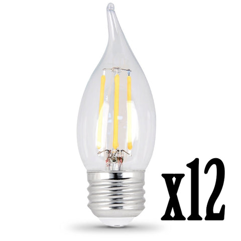 LED 4.5W Flame E26 Filament Clear DIM 5000K (12 PACK) 64435-FETc