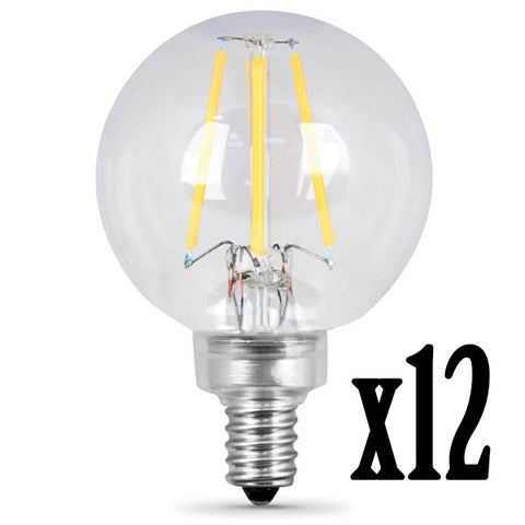 LED 7.5W G16.5 E12 Filament Clear Dimmable 2700K (12 PACK) 61680-FETc