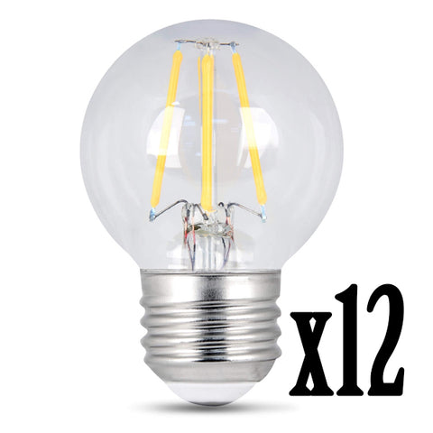 LED 4.5W G16.5 E26 Filament Clear Dimmable 2700K (12 PACK) 61683-FETc