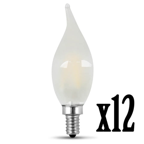 LED 4.5W Flame E12 Filament Frost DIM 2700K (12 PACK) 61705-FETc