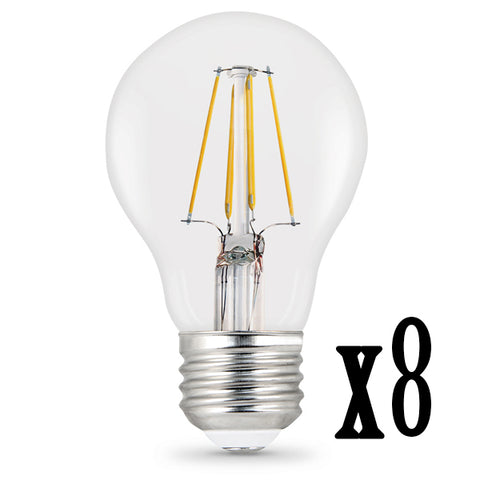 LED 7W A19 E26 Filament Clear 27000K (8 PACK) 64455-FETc