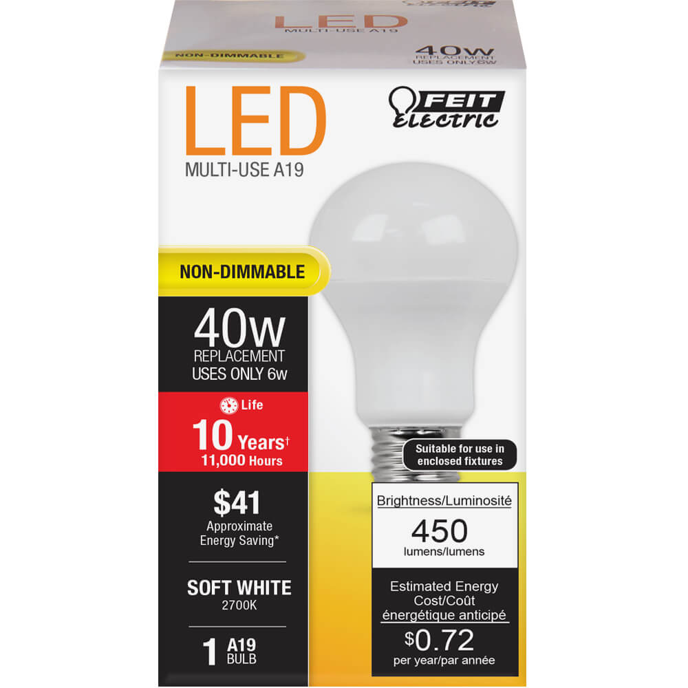 6W LED A19 (40W Equivalent) 11000hr 27K 450 Lumen (6 Pack) 64703-FETc
