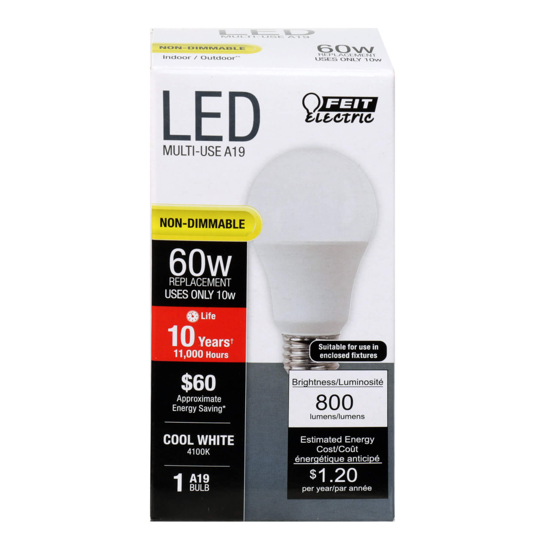 10W LED A19 (60W Equivalent) 11000hr 4100K 800 Lumen (6 Pack) 64705-FETc