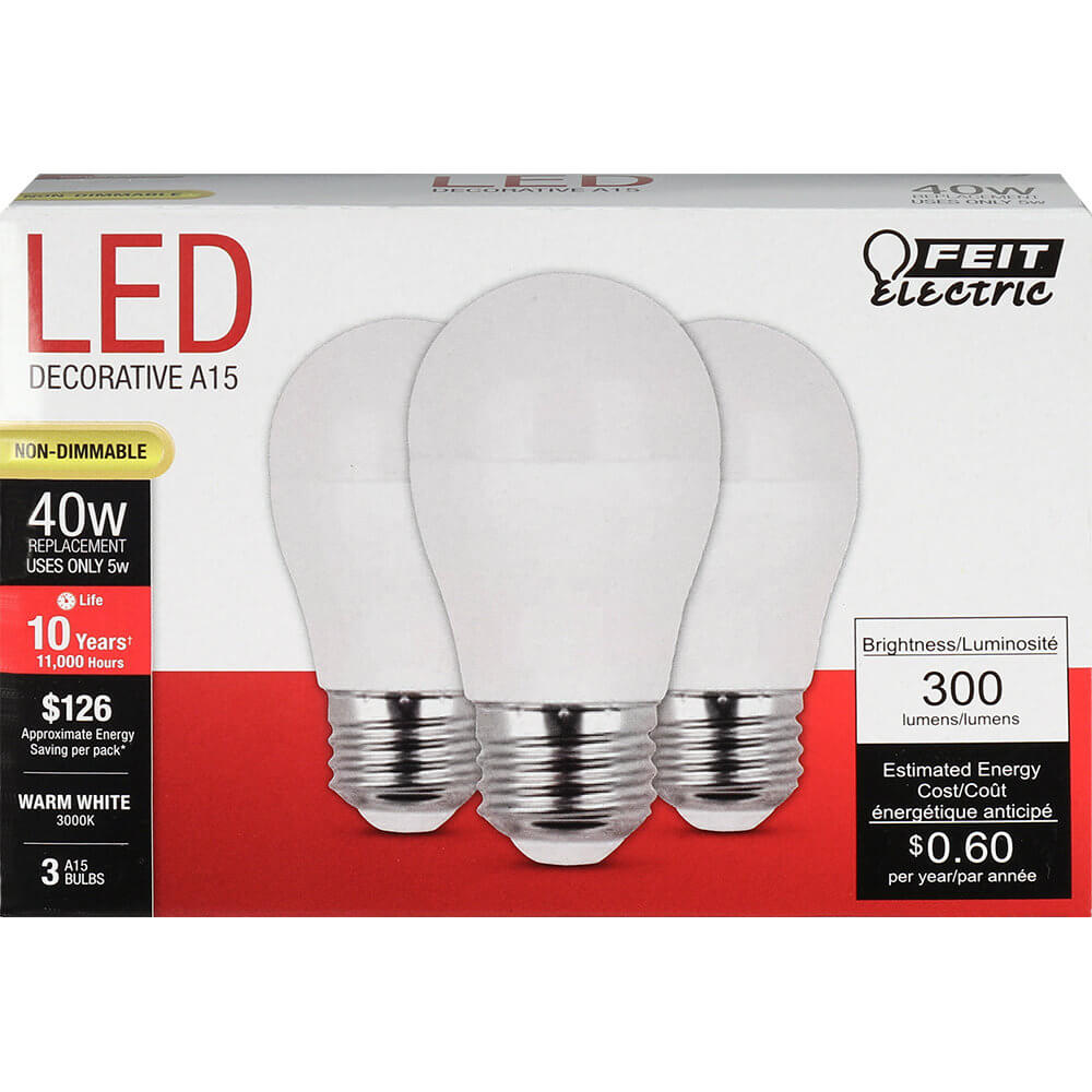 5W LED A15 (40W Equiv.) 11000hr 30K 300 Lumen (Case of 6 3-Packs) 64708-FETc