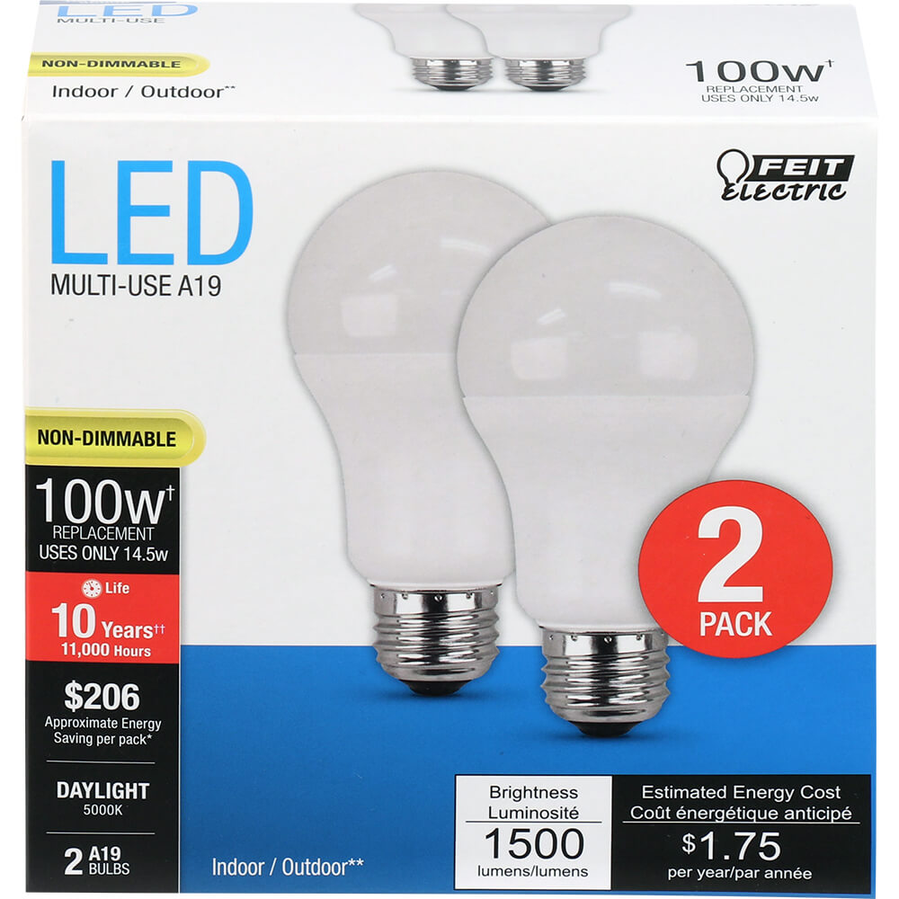 14.5W LED A19 (100W Equiv) 11000hr 50K 1500 Lumen (Case of 6 2-Packs) 64709-FETc