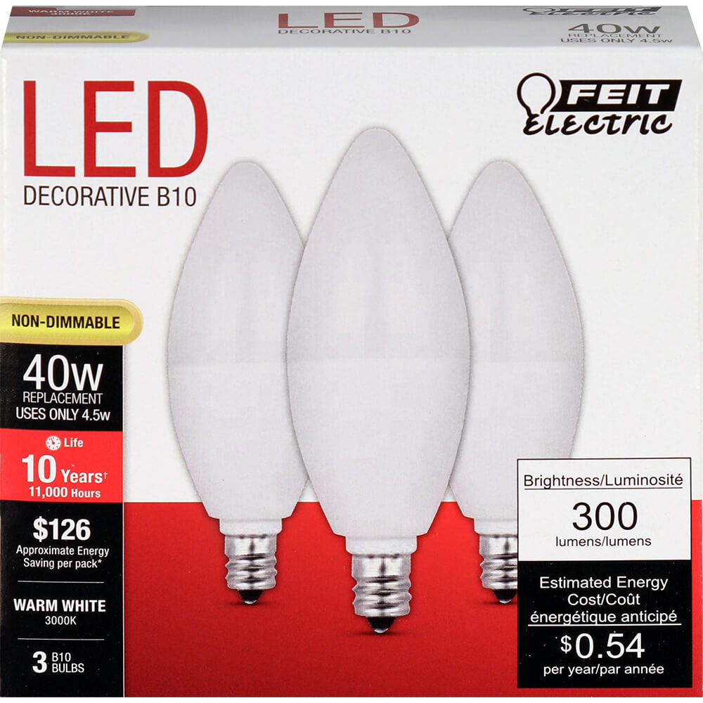 4.5W LED (40W Equiv) 11000hr 30K Frost Chandelier E12 Candelabra Base (Case of 6 3-Packs) 64715-FETc