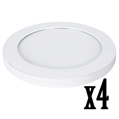 "11"" 12.5W LED Circular Flat Panel 4000K Flush Mount Ceiling Fixture (4 PACK) 64733-FETc"