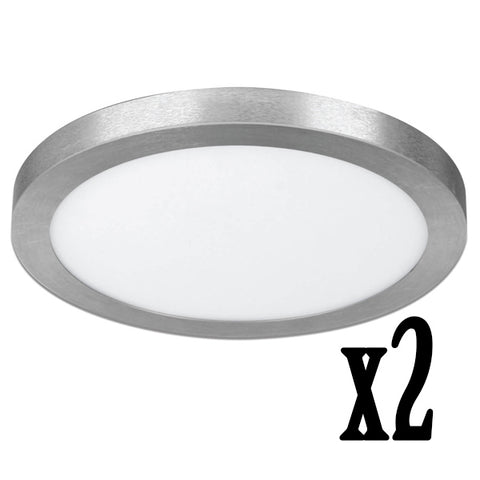 "15"" 22W LED Circular Flat Panel 4000K Flush Mount Ceiling Fixture (2 PACK) 64736-FETc"