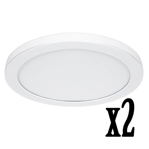 "15"" 22.5W LED Circular Flat Panel 4000K Flush Mount Ceiling Fixture (2 PACK) 64737-FETc"
