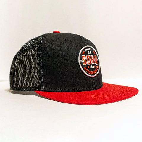 SDHQ Motorsports Black & Red Trucker Style Snapback Hat Apparel SDHQ Off Road