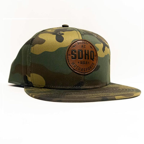 SDHQ Motorsports Camo Leather Patch Snapback Hat Apparel SDHQ Off Road