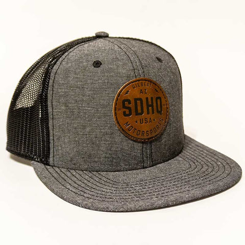SDHQ Motorsports Heather Gray Leather Patch Snapback Hat Apparel SDHQ Off Road