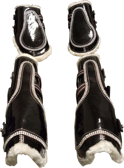 Black-Bling Faux Patent Leather Tendon/ Fetlock Boots with Fur lining-Set of Four