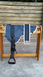 Electricblue Microsuede Padded Bareback Pad with Girth and detachable stirrups