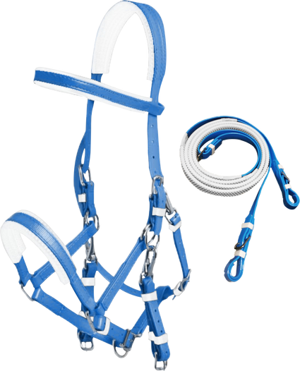Blue PVC Marathon Bridle With Rubberised Piimple Grip Reins