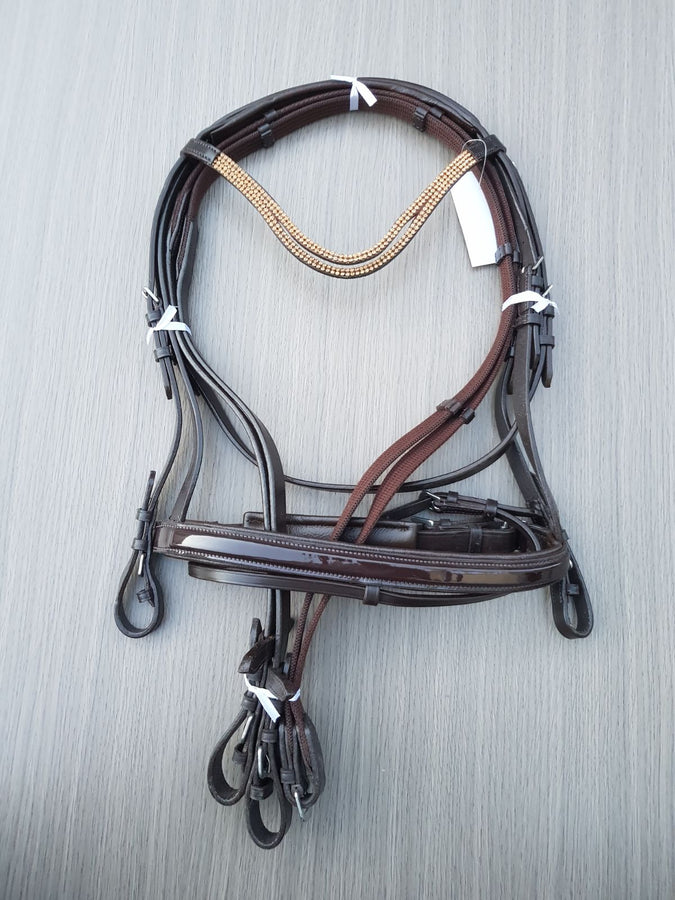 Gold Smile Brown Leather Bridle With Webb / Leather Reins