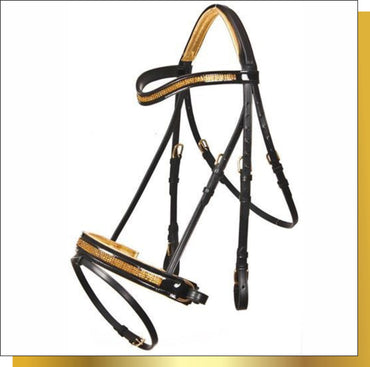 Gold Crystal Leather Bridle With Webb / Leather Reins