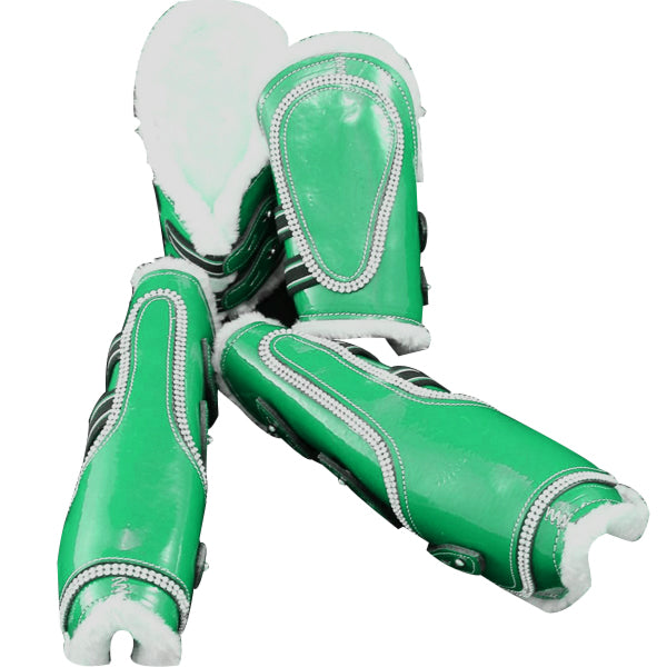Green-Bling Faux Patent Leather Tendon/ Fetlock Boots with Fur lining-Set of Four