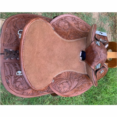 Kids -  Ornate Handcarved Leather-Half Breed-Swinging Fender Saddle - Size 13 and 14