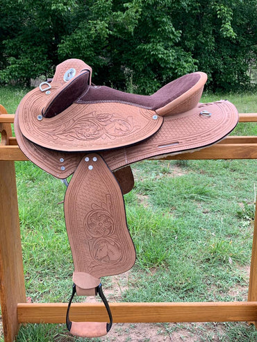Kids- Natural finish- Ornate carved-Leather-Half Breed-Swinging Fender Saddle-Size 13 & 14