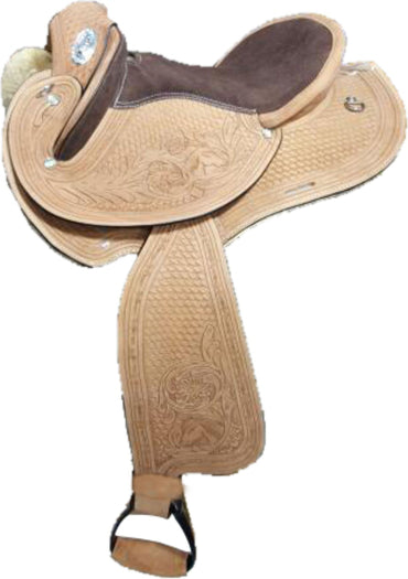 Natural finish- Ornate carved-Leather-Half Breed-Swinging Fender Saddle
