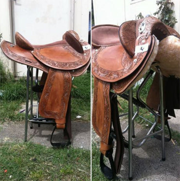 Wide Gullet-Brown-Leather-Half Breed-Swinging Fender Saddle