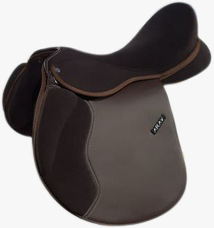 ARAV- CHANGEABLE GULLET- BROWN- All General Purpose Synthetic English Saddle-  With 4 Gullet set - Size 16/17/18