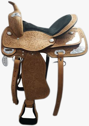"Wide Gullet -7"" - Showtime spirit-  Natural finish Floral Hand carved - Western Saddle"