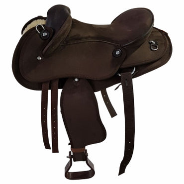 Kids / Pony -Brown-Synthetic Suede-Half Breed-Swinging Fender Saddle- size 13 &14