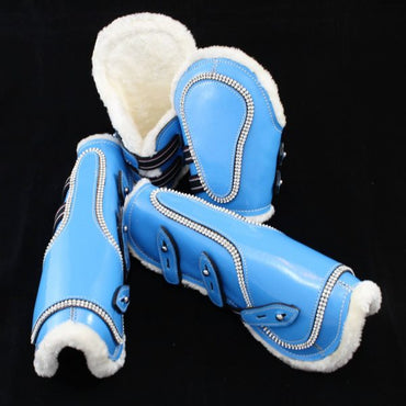 Light Blue-Bling Faux Patent Leather Tendon/ Fetlock Boots with Fur lining-Set of Four