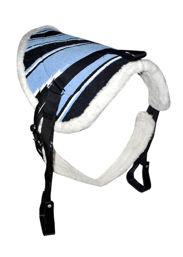 Blue Navajo Print Padded Bareback Pad with Girth and detachable stirrups