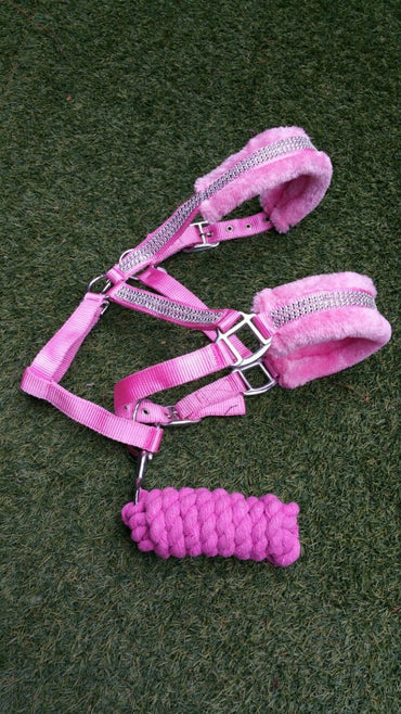 Pink-Crystal- Mink PP Halter and lead Set