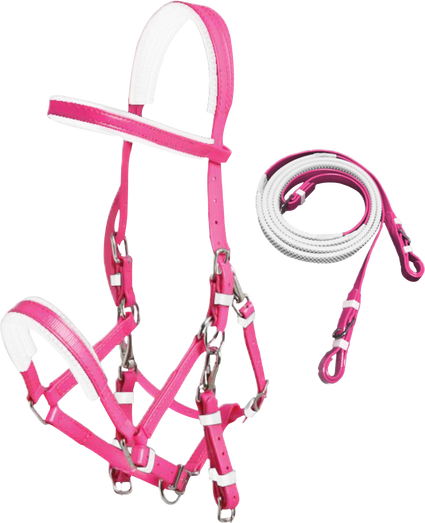 Pink PVC Marathon Bridle With Rubberised Piimple Grip Reins