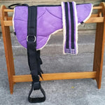 Purple Microsuede Padded Bareback Pad with Girth and detachable stirrups