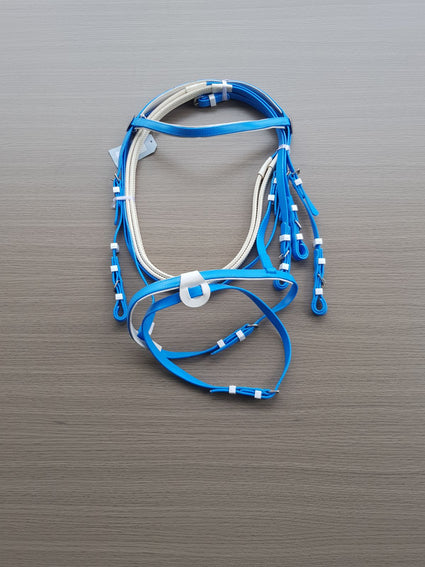 PVC-Blue-White-Eventing Bridle With Matching Pimple Grip Reins