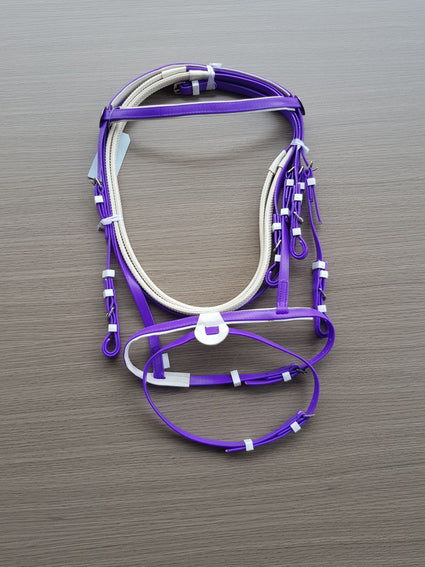 PVC-Purple-White-Eventing Bridle With Matching Pimple Grip Reins