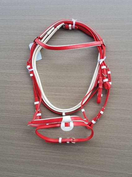 PVC-Red-White-Eventing Bridle With Matching Pimple Grip Reins