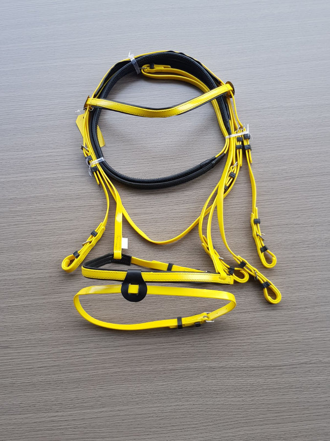 PVC-Yellow-Black- Eventing Bridle With Matching Pimple Grip Reins