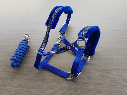 Rblue-Crystal- Mink PP Halter and lead set
