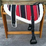 Red Navajo Print Padded Bareback Pad with Girth and detachable stirrups