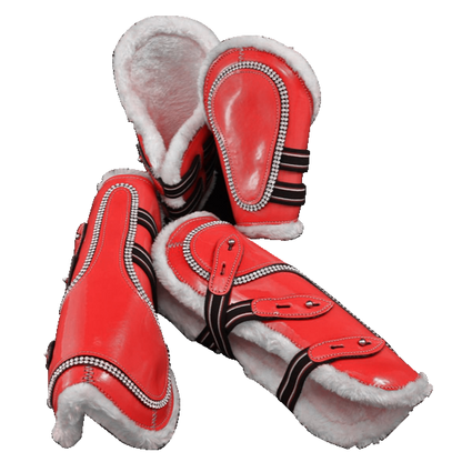 Red-Bling Faux Patent Leather Tendon/ Fetlock Boots with Fur lining-Set of Four