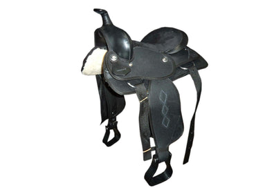 "Wide Gullet - 7 "" -Black- Synthetic Western Saddle"
