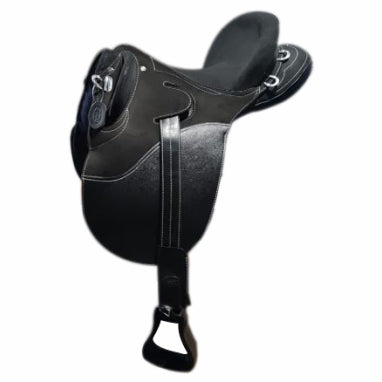 Black- Outback Spirit- Synthetic stock Saddle- Fully Mounted
