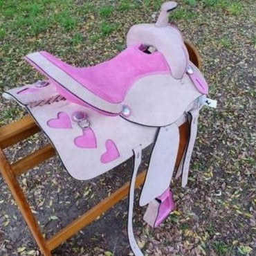 "6.5"" Gullet- Sweet Heart  Pink Natural  leather Western Saddle"